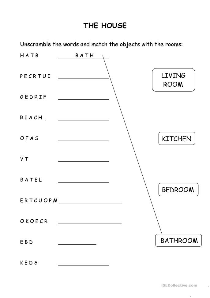 House Room Coloring Page: House Objects And Rooms Worksheet