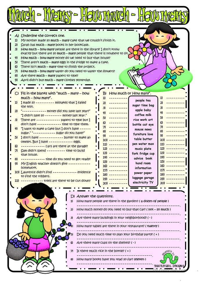 HOW MUCH&HOW MANY - ESL worksheets