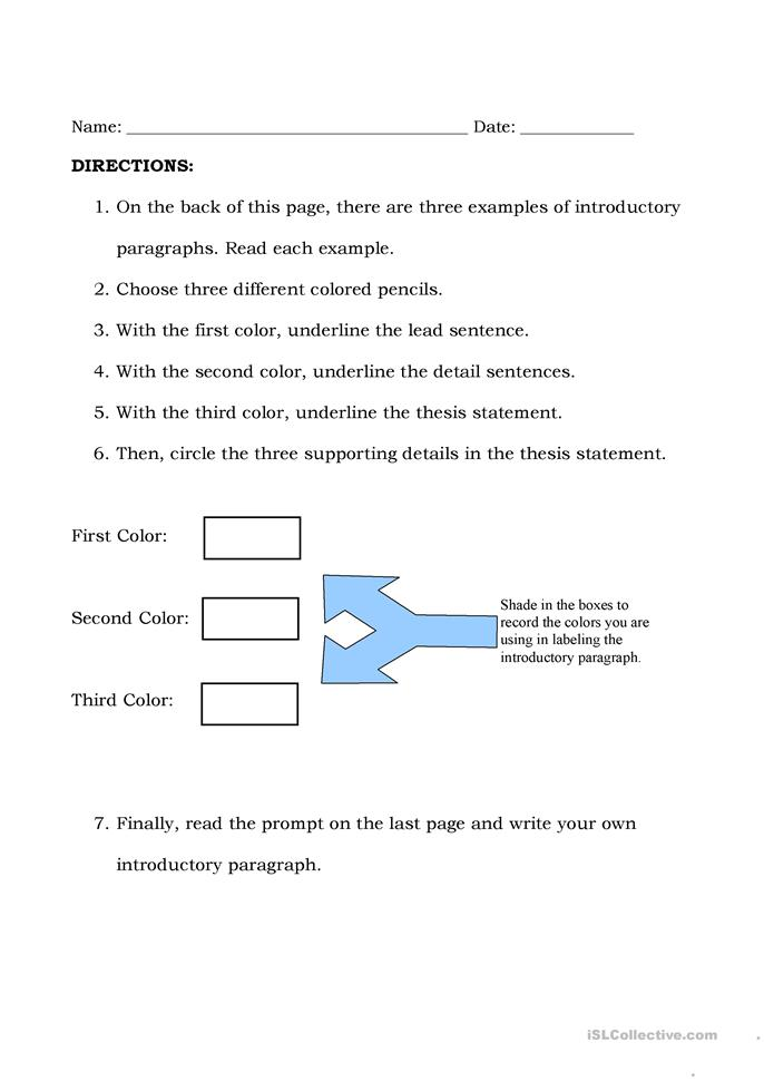 introduction paragraph worksheet free worksheets library download and print worksheets free. Black Bedroom Furniture Sets. Home Design Ideas