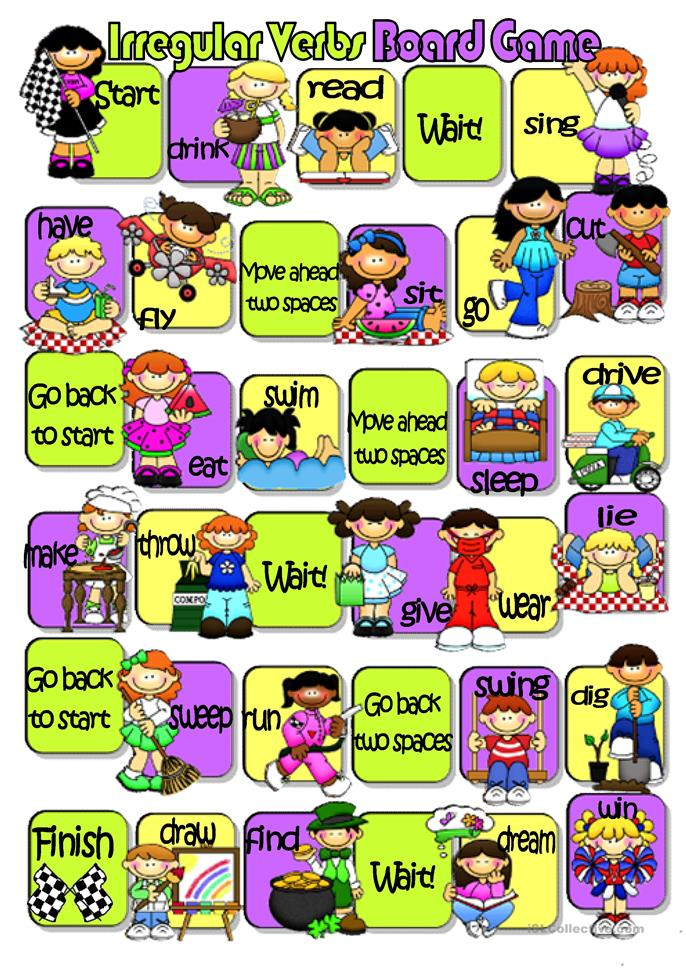 Irregular Verbs Board Game worksheet - Free ESL printable worksheets ...