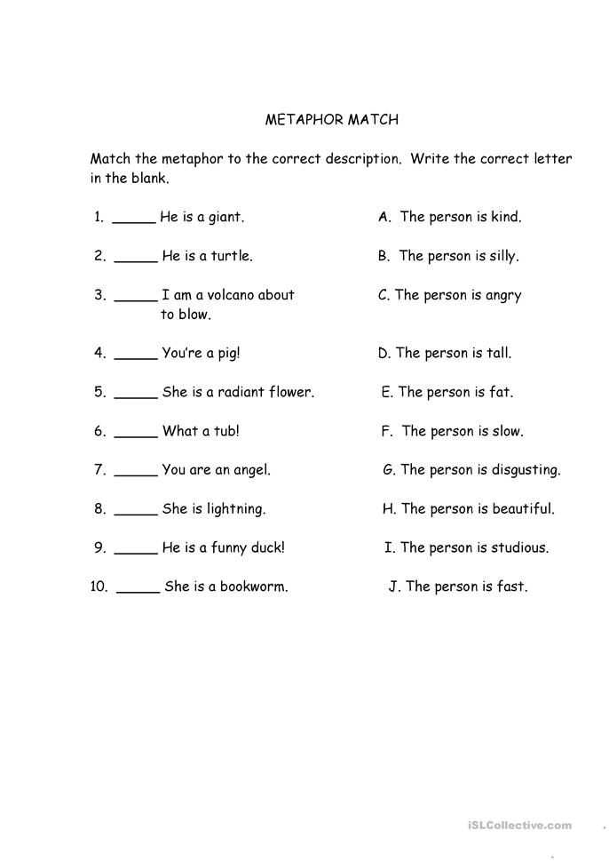 Worksheet Metaphor Worksheets 12 free esl metaphor worksheets match