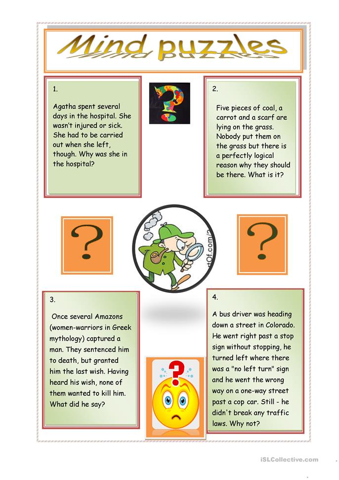 mind puzzles - ESL worksheets