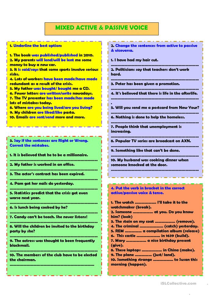 mixed active passive voice worksheet free esl printable worksheets made by teachers. Black Bedroom Furniture Sets. Home Design Ideas