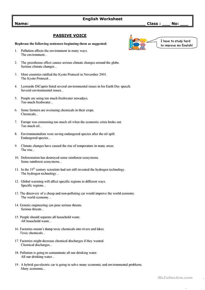 passive voice environment worksheet free esl printable worksheets made by teachers. Black Bedroom Furniture Sets. Home Design Ideas