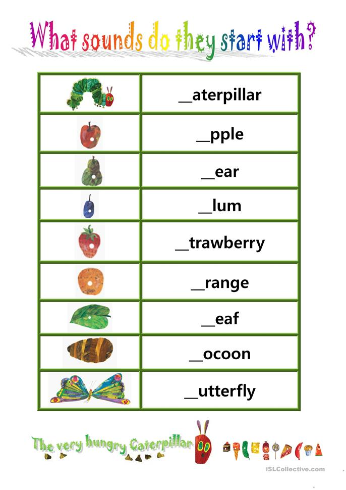 Printables Very Hungry Caterpillar Worksheets 7 free esl the very hungry caterpillar worksheets