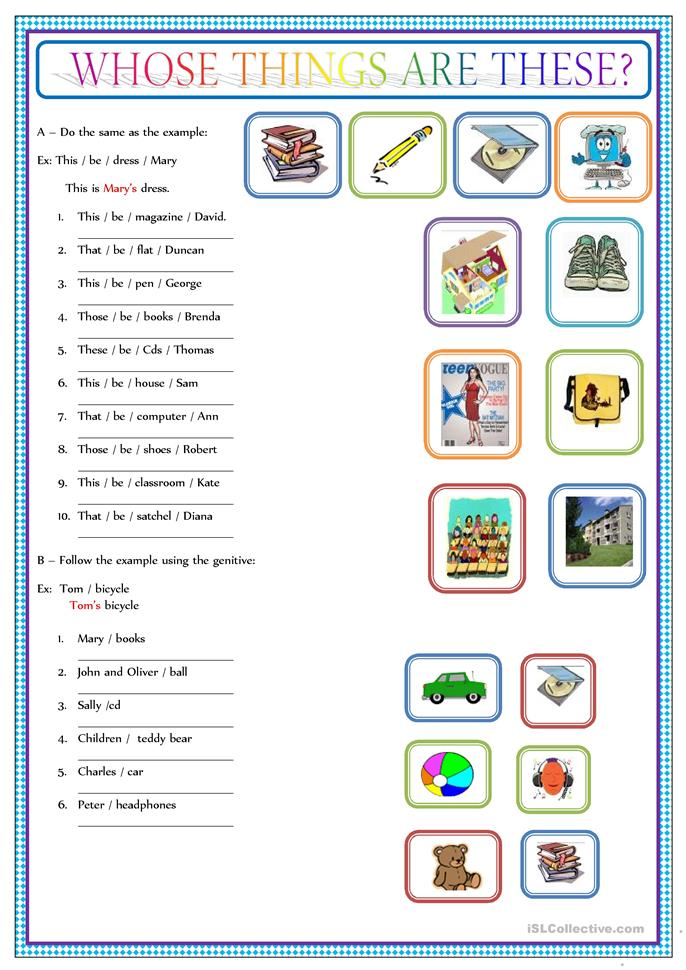 POSSESSIVE CASE  - ESL worksheets