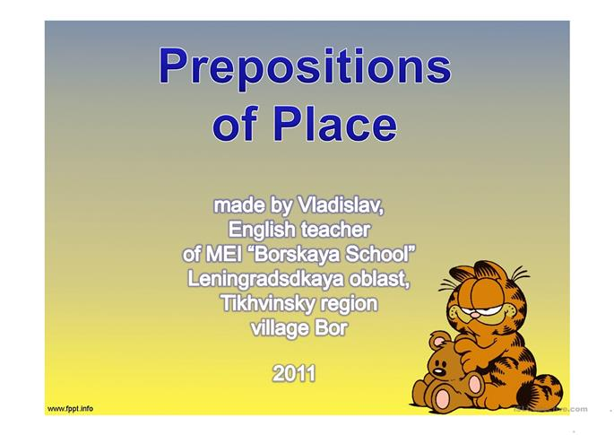 Prepositions of Place - ESL powerpoints