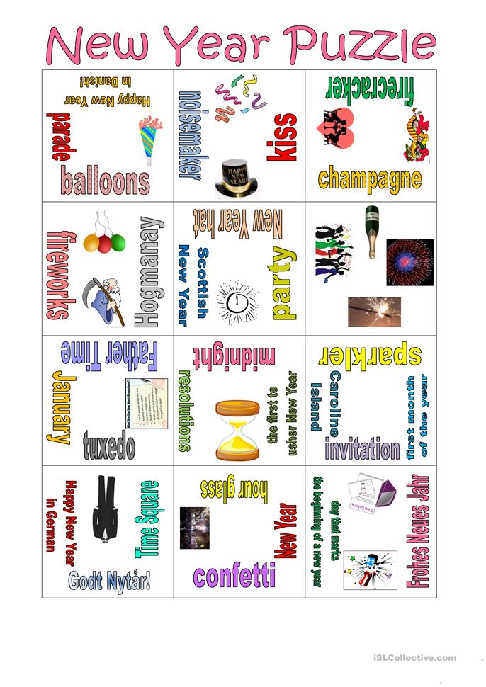Puzzle New Year - ESL worksheets