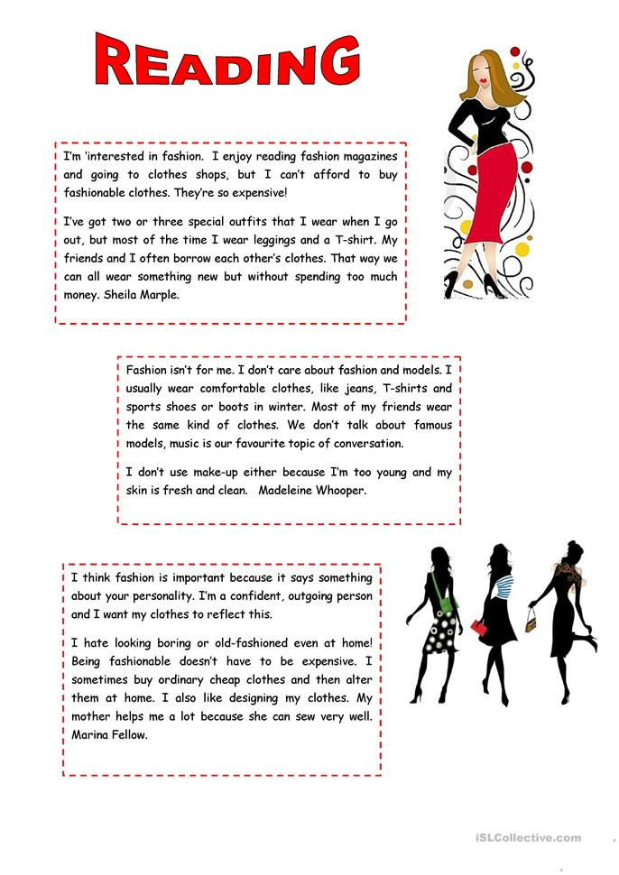 61 FREE ESL Fashion & clothes worksheets