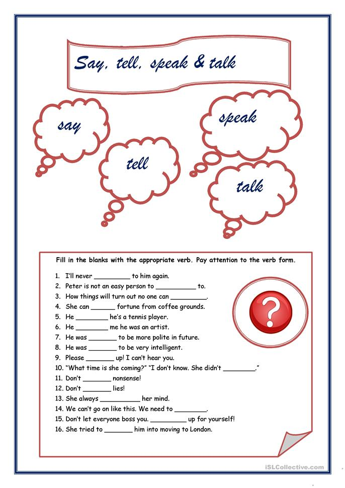 say, tell, speak and talk - ESL worksheets