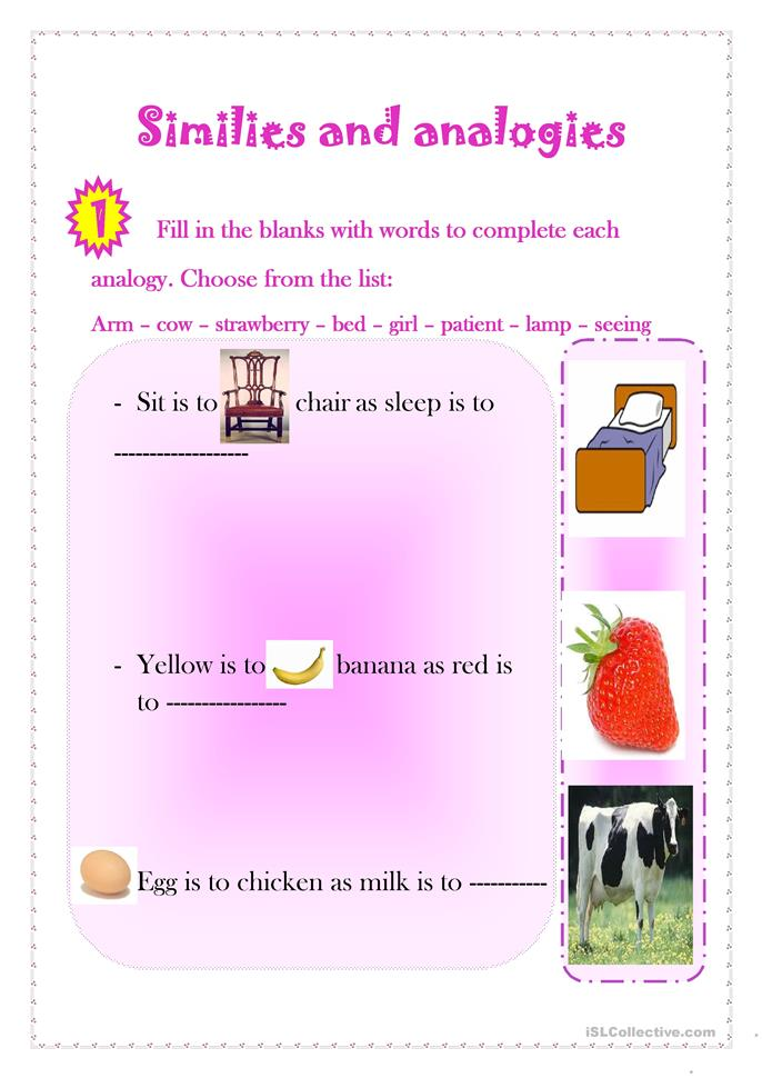 Number Names Worksheets picture analogies worksheet Free – Analogy Worksheets for Middle School
