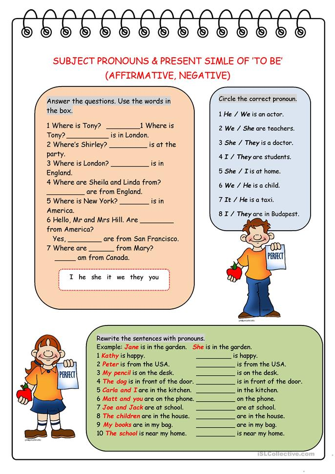 Subject Pronouns&Present Simple of 'to be' (Affirmative, Negative) - ESL worksheets
