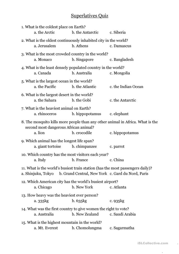 Superlatives Quiz - ESL worksheets