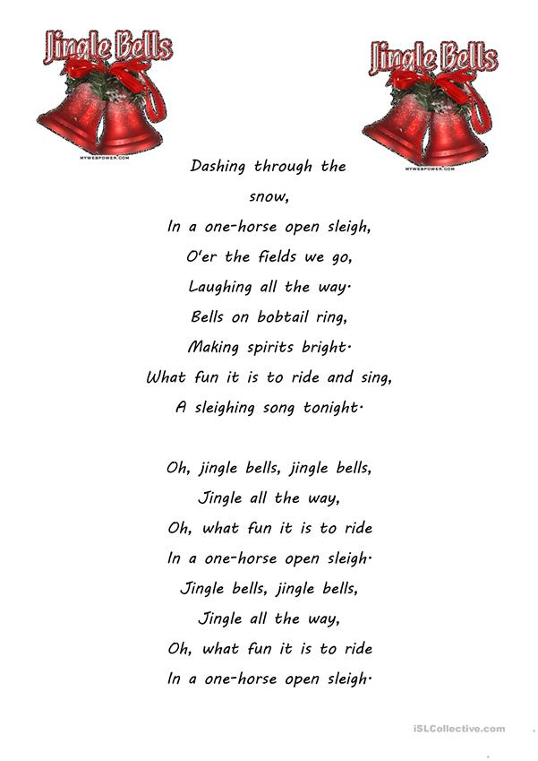 photograph regarding Jingle Bells Lyrics Printable identify jingle bells - English ESL Worksheets