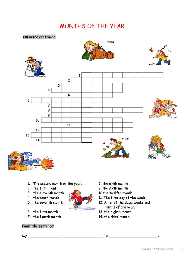 Months Of The Year English Esl Worksheets