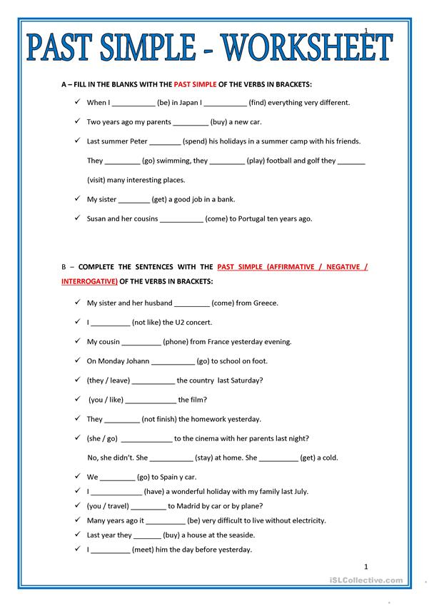 PAST SIMPLE - WORKSHEET - English ESL Worksheets For Distance Learning And  Physical Classrooms