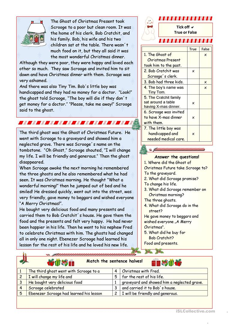 "A Christmas Carol"" - simplified version (KEY included) - English"