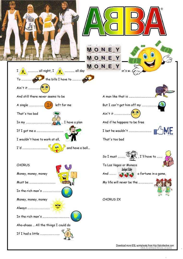 worksheet Money Money Money Worksheet 16 free esl abba worksheets lyrics money song gapfill