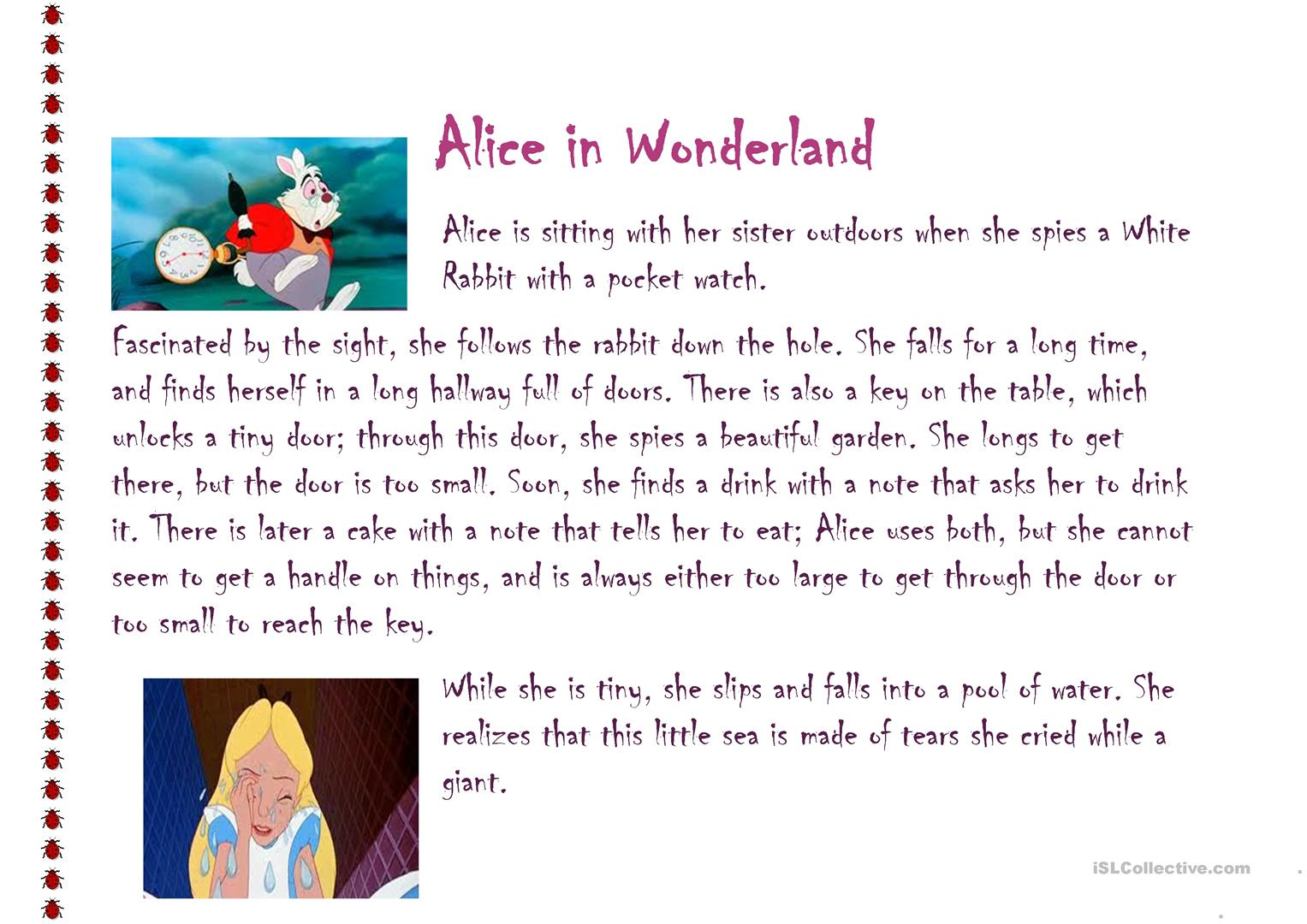 alice in wonderland Connect The Dots printable worksheets