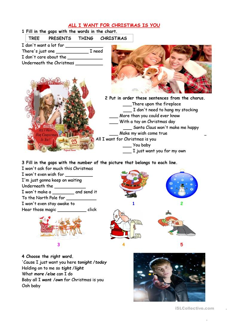 12 FREE ESL all I want for christmas worksheets