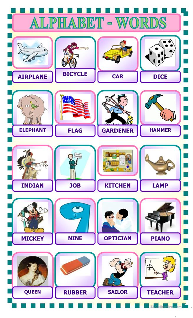 ALPHABET WORDS - English ESL Worksheets For Distance Learning And Physical  Classrooms