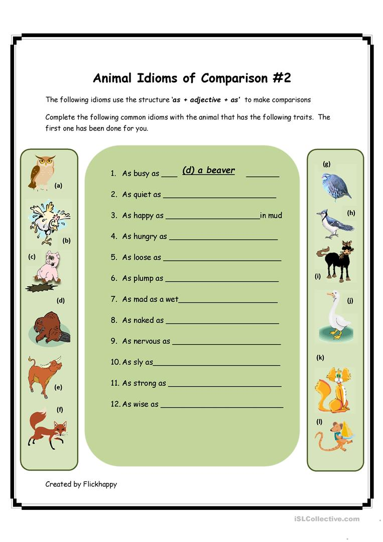 27 Free Esl Animal Idioms Worksheets