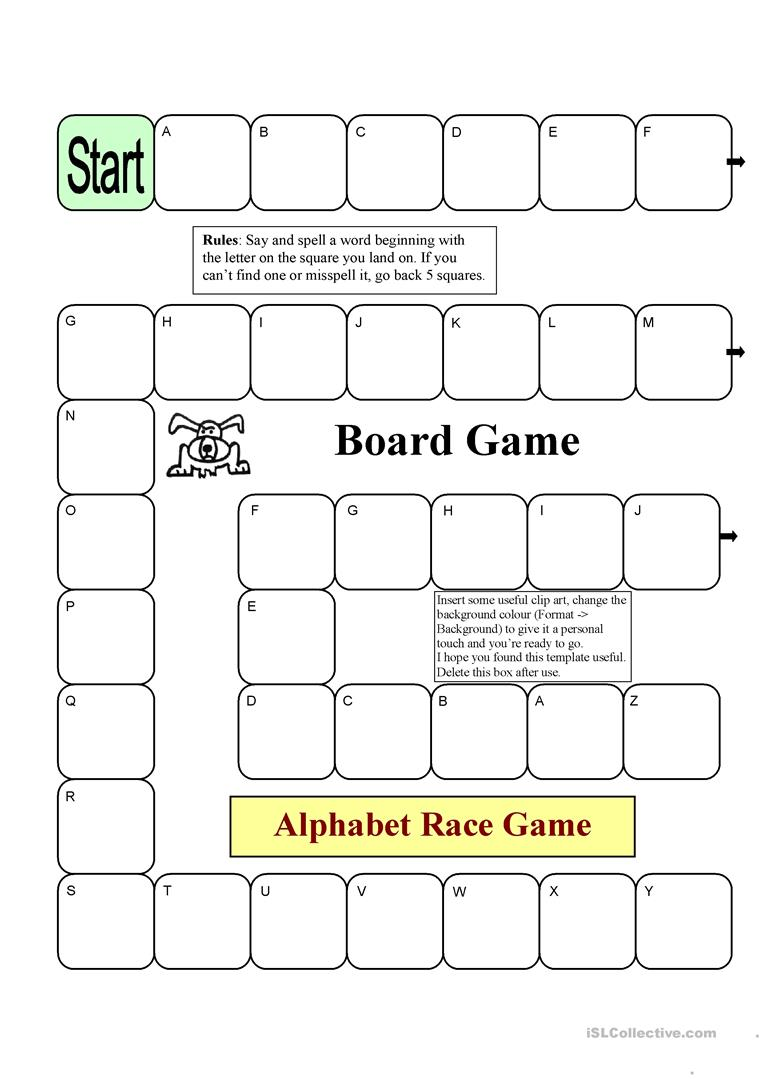photo regarding Alphabet Games Printable referred to as Board Video game - Alphabet Race - English ESL Worksheets