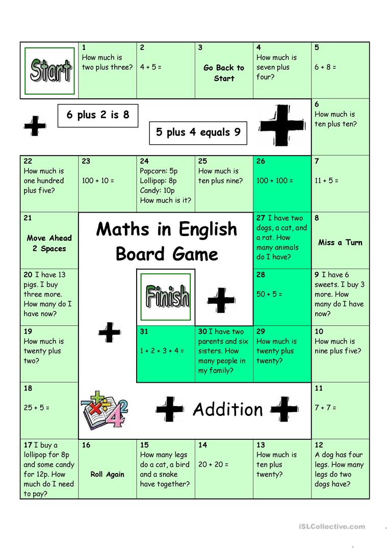 Board Game - Maths in English - English ESL Worksheets