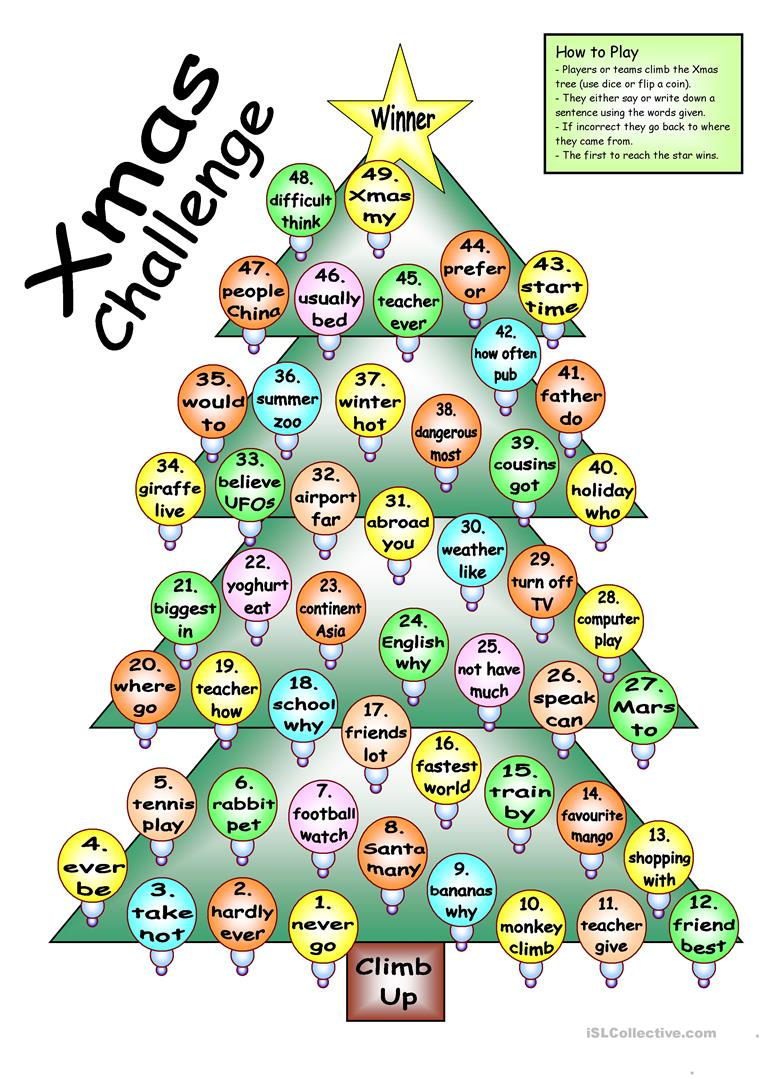 board-game-xmas-challenge-games_14386_1 Xmas Worksheets Esl on for advanced, family tree, daily routine, first conditional, question words, high intermediate, for beginners weeks, phrasal verbs, free newcomer,