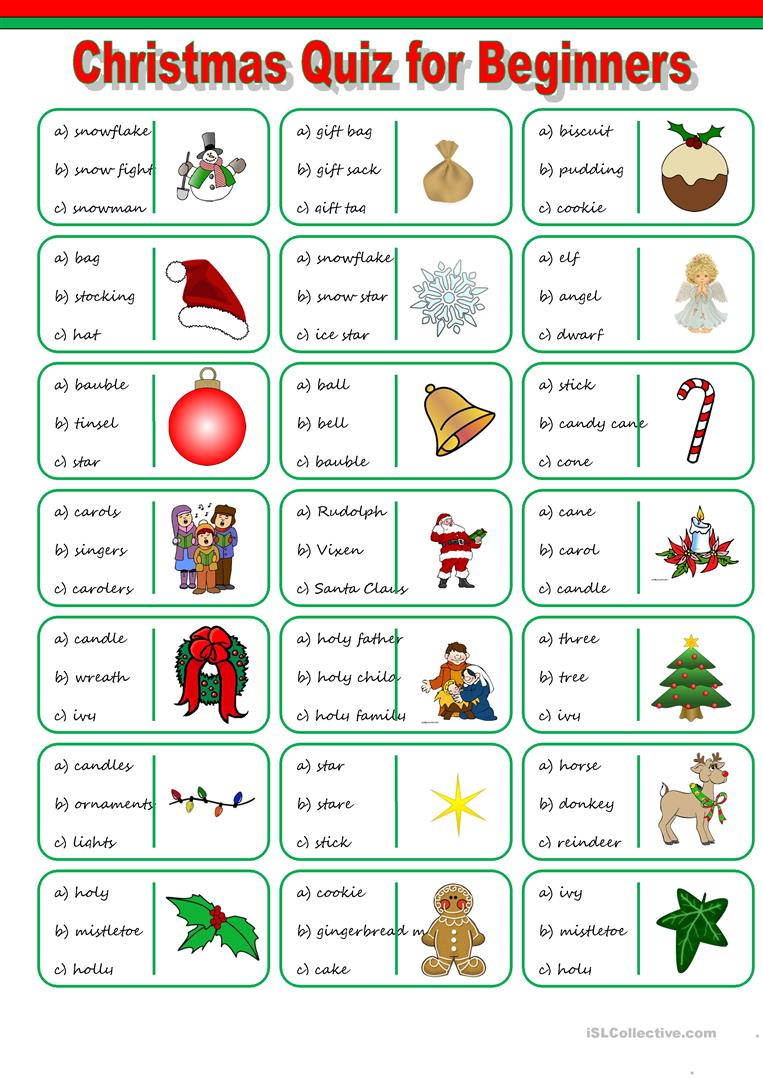43 Free Esl Christmas Vocabulary Worksheets