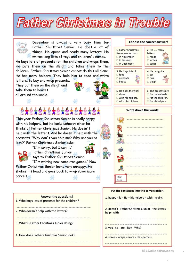 worksheet Christmas Reading Comprehension Worksheets 12 free esl father christmas worksheets in trouble key included