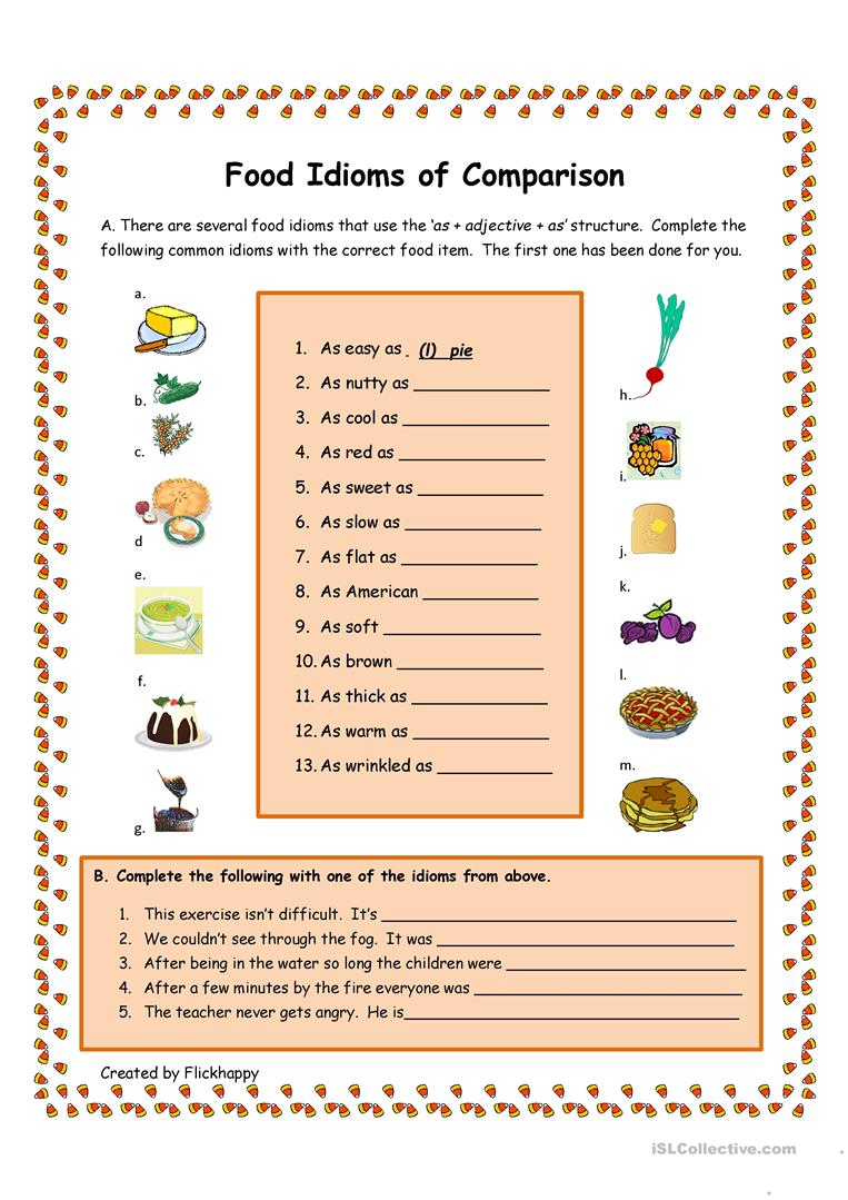 227 free esl comparison worksheets food idioms of comparison esl worksheets robcynllc Image collections