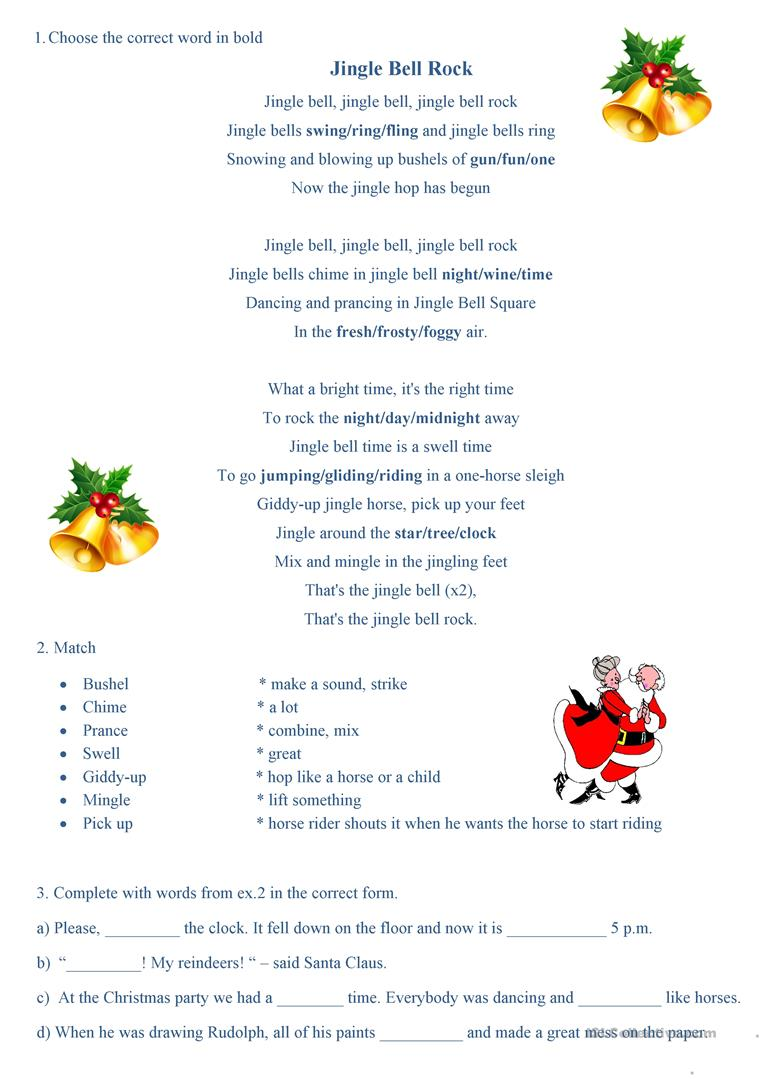 photo relating to Jingle Bells Lyrics Printable named Jingle Bell Rock - English ESL Worksheets