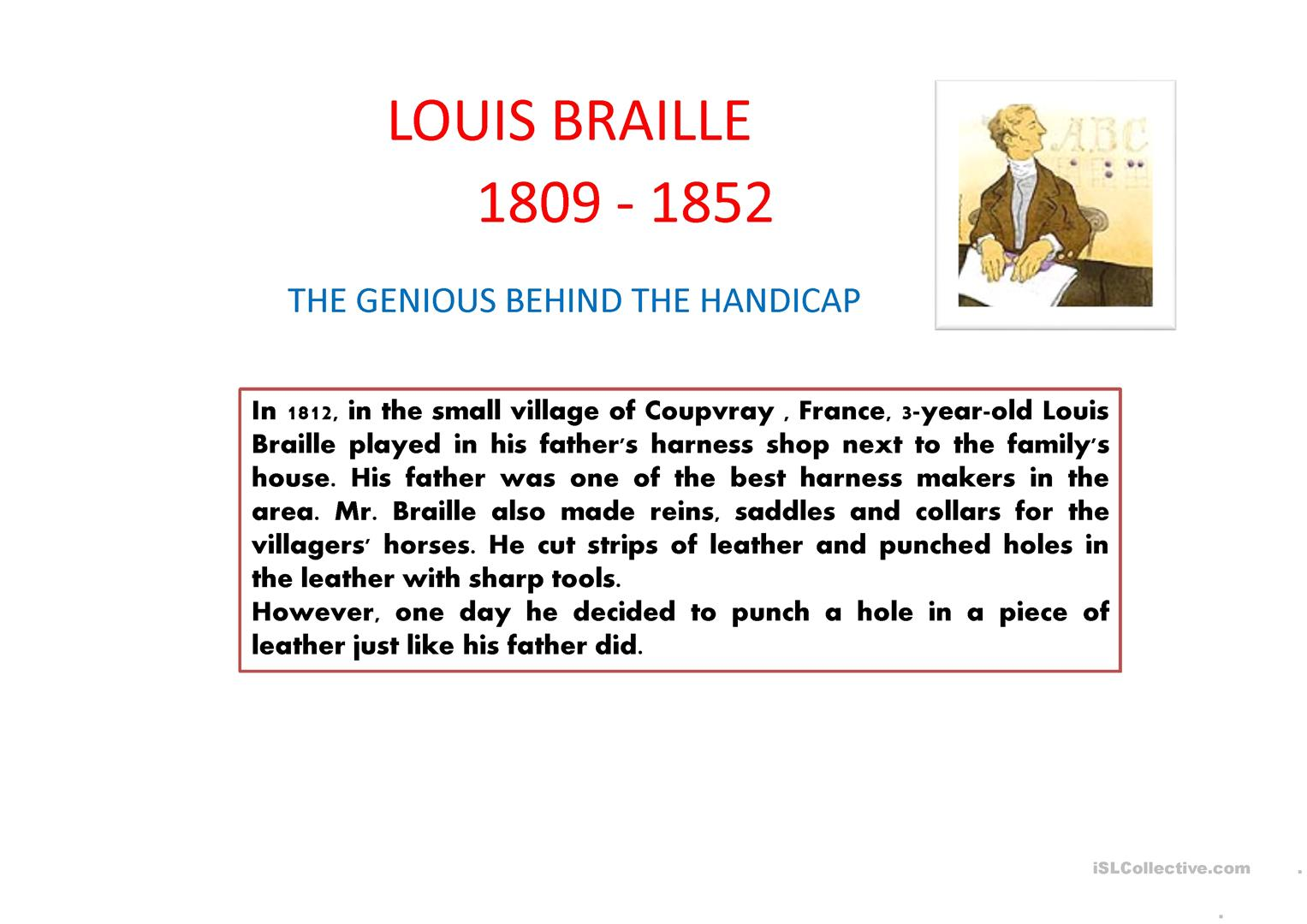 Louis Braille ppt worksheet Free ESL projectable worksheets – Braille Worksheets