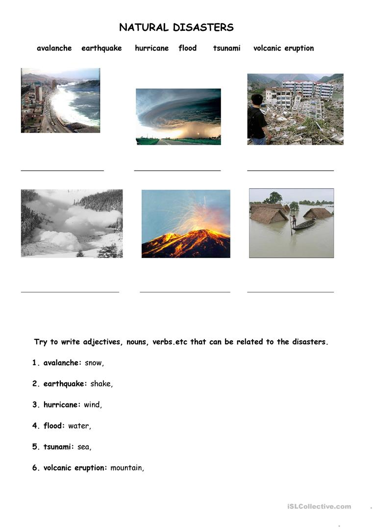 Natural Disasters Comprehension Worksheets