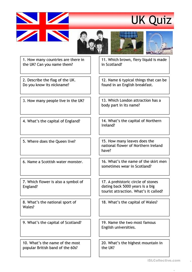 Workbooks quiz worksheets : 58 FREE ESL scotland worksheets