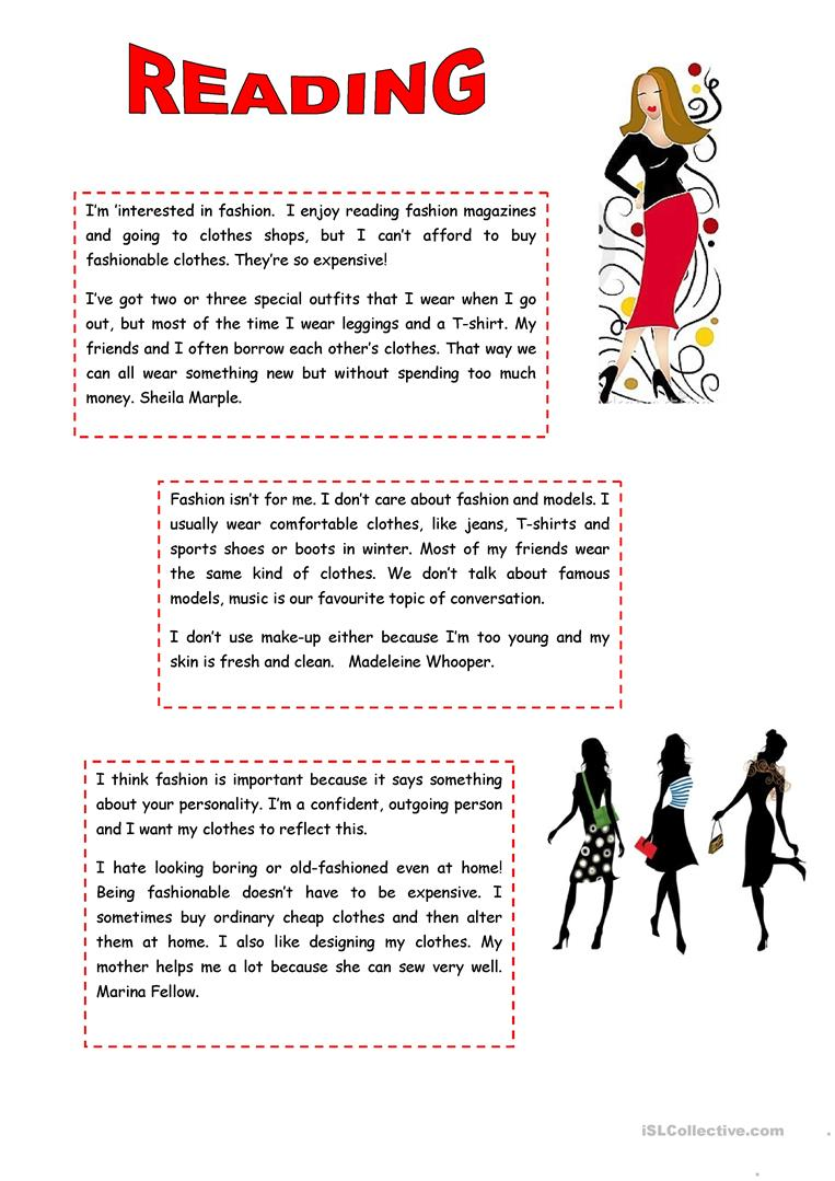 READING: FASHION worksheet - Free ESL printable worksheets ...