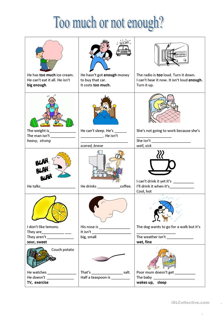 Too much or not enough? worksheet