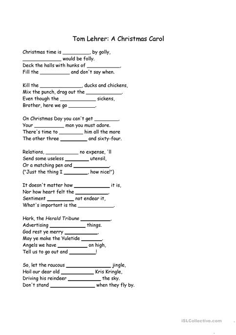 Christmas Carol Cloze worksheet - Free ESL printable worksheets ...