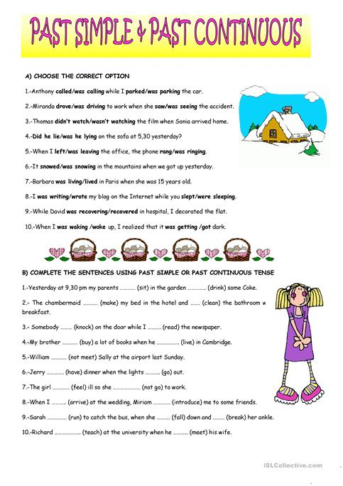 Past Simple And Past Continuous Worksheet Free Esl Printable