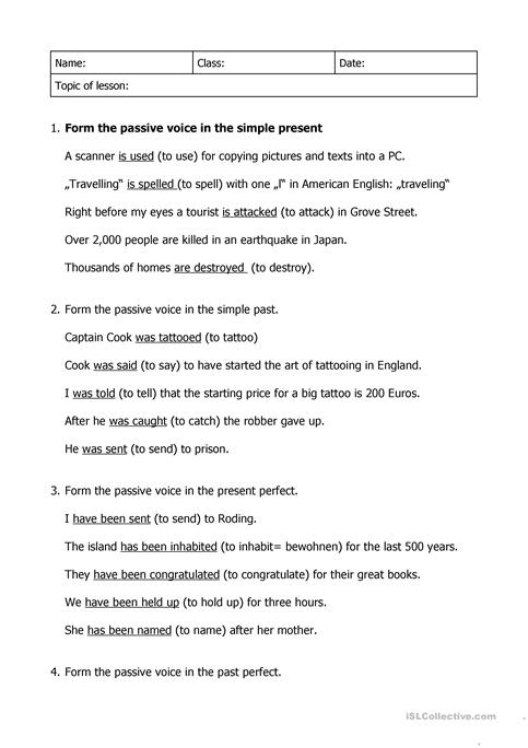 The Passive Voice Worksheet Free Esl Printable Worksheets Made By
