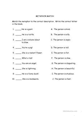Simile and Metaphor Read and Answer Worksheet - EnchantedLearning.com