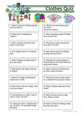 English Esl Clothes Worksheets Most Downloaded 858 Results