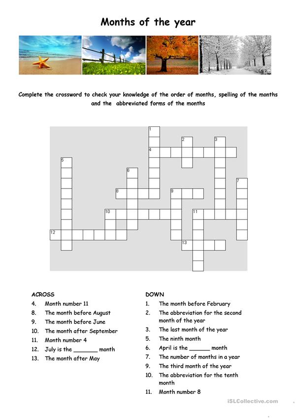 Months of the year crossword