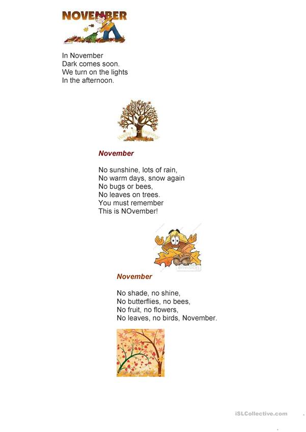 Poems about November