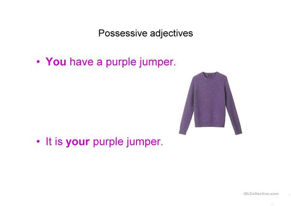 Possessive adjectives and colours