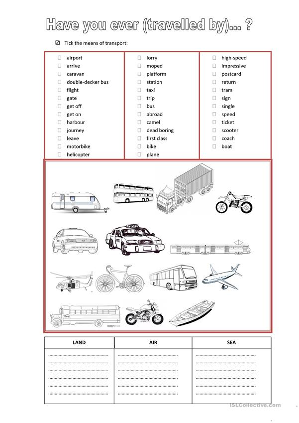 Present Perfect + means of transport