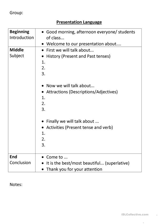 Tourism and place presentation prompt sheet