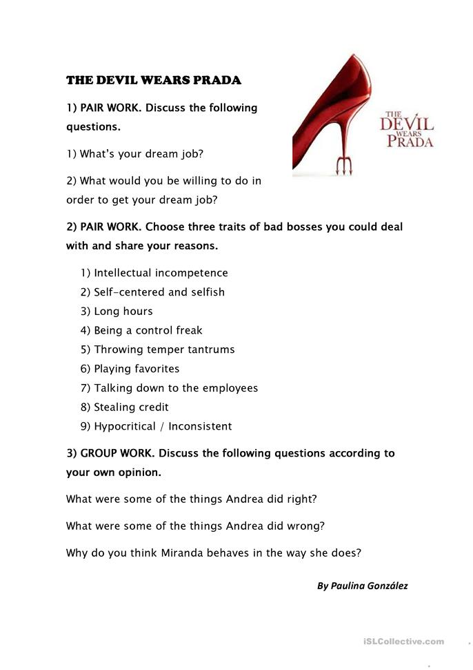activity for movie the devil wears prada worksheet free esl printable worksheets made by teachers. Black Bedroom Furniture Sets. Home Design Ideas