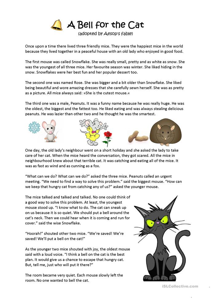 Aesop s fable a bell for the cat esl worksheets